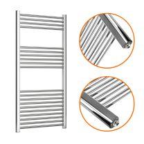 1200 x 600mm Straight Chrome Heated Towel Rail