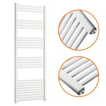 1600 x 600mm Straight White Heated Towel Rail