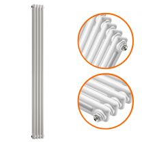 1500 x 203mm White Vertical Traditional 2 Column Radiator