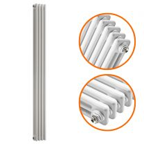 1800 x 203mm White Vertical Traditional 3 Column Radiator