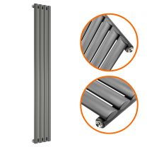 1600 x 236mm Anthracite Single Oval Tube Vertical Radiator