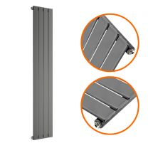 1600 x 280mm Anthracite Single Flat Panel Vertical Radiator
