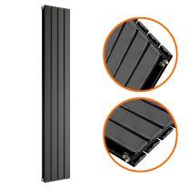 1600 x 280mm Black Double Flat Panel Vertical Radiator