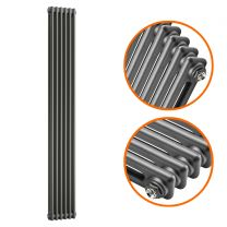 1800 x 293mm Anthracite Vertical Traditional 2 Column Radiator