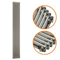 1800 x 293mm Raw Metal Lacquered Vertical Traditional 2 Column Radiator