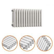 300 x 608mm White Horizontal Traditional 3 Column Radiator