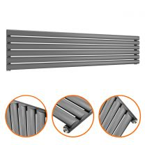 354mm x 1600mm Anthracite Single Oval Tube Horizontal / Landscape Radiator