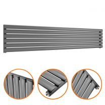 354mm x 1780mm Anthracite Single Oval Tube Horizontal / Landscape Radiator