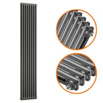 1800 x 383mm Anthracite Vertical Traditional 2 Column Radiator