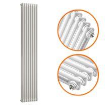 1500 x 383mm White Vertical Traditional 2 Column Radiator