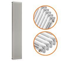 1500 x 383mm White Vertical Traditional 3 Column Radiator