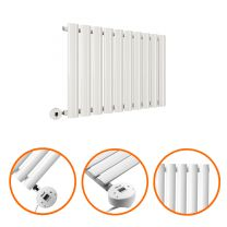 400 x 595mm Electric White Single Oval Panel Horizontal Radiator