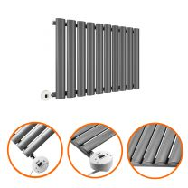 400 x 595mm Electric Anthracite Single Oval Panel Horizontal Radiator
