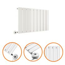 400 x 630mm Electric White Single Flat Panel Horizontal Radiator