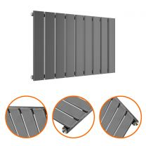 400 x 630mm Anthracite Single Flat Panel Horizontal Radiator