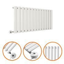 400 x 834mm Electric White Single Oval Panel Horizontal Radiator