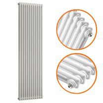 1500 x 560mm White Vertical Traditional 2 Column Radiator