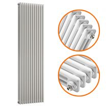1500 x 560mm White Vertical Traditional 3 Column Radiator