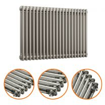 600 x 1013mm Raw Metal Lacquered Horizontal Traditional 2 Column Radiator