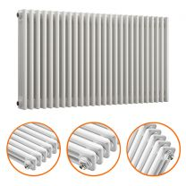 600 x 1193mm White Horizontal Traditional 3 Column Radiator