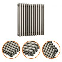 600 x 608mm Raw Metal Lacquered Horizontal Traditional 3 Column Radiator