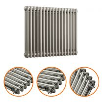 600 x 788mm Raw Metal Lacquered Horizontal Traditional 2 Column Radiator