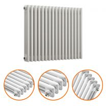 600 x 788mm White Horizontal Traditional 3 Column Radiator