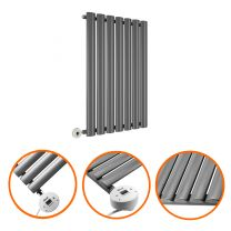 635 x 415mm Electric Anthracite Single Oval Panel Horizontal Radiator