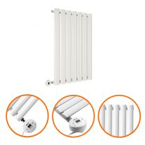 635 x 415mm Electric White Single Oval Panel Horizontal Radiator