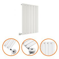 635 x 420mm Electric White Single Flat Panel Horizontal Radiator