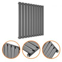 635 x 595mm Anthracite Single Oval Tube Horizontal Radiator