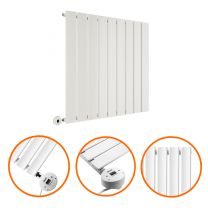 635 x 630mm Electric White Single Flat Panel Horizontal Radiator