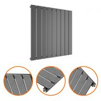635 x 630mm Anthracite Single Flat Panel Horizontal Radiator
