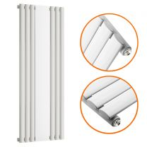 1800 x 500mm White Vertical Radiator With Mirror, Single Panel
