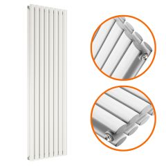 1780 x 472mm White Double Oval Tube Vertical Radiator